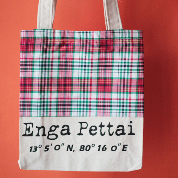 Enga Pettai Tote Bag With Maroon & Green Checks at Qtrove