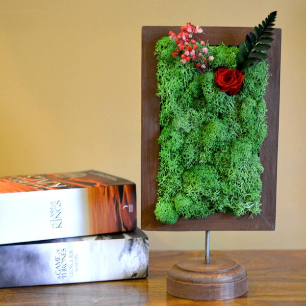 A Dainty Bloom in Red Tabletop Moss Frame at Qtrove