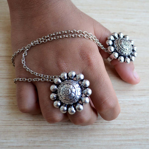 Adjustable Silver Finger Ring (Double Ring)