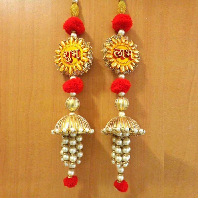 Yellow And Red Shubh Labh Latkan Door Hanging