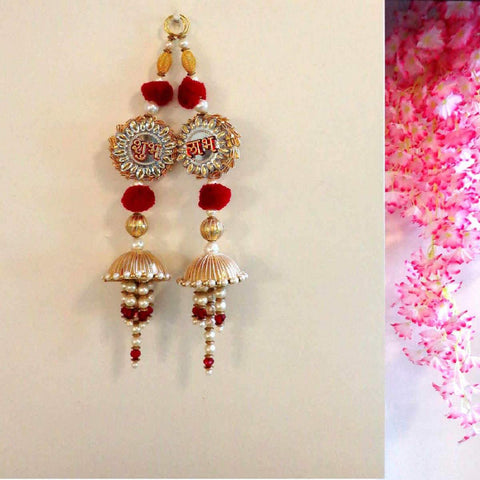 Silver And Maroon Shubh Labh Door Hanging