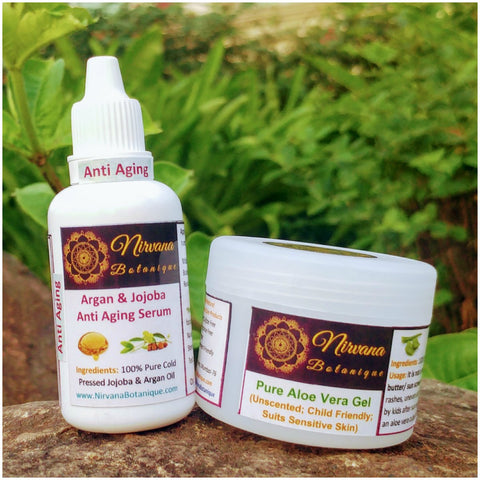 Argan & Jojoba Anti Aging Serum + Aloe Vera Gel (Combo Pack)