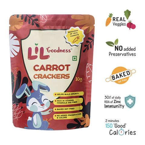 Assorted Crackers (Beetroot, Carrots, Spinach), 6 x 30 g, 2 Packets Each