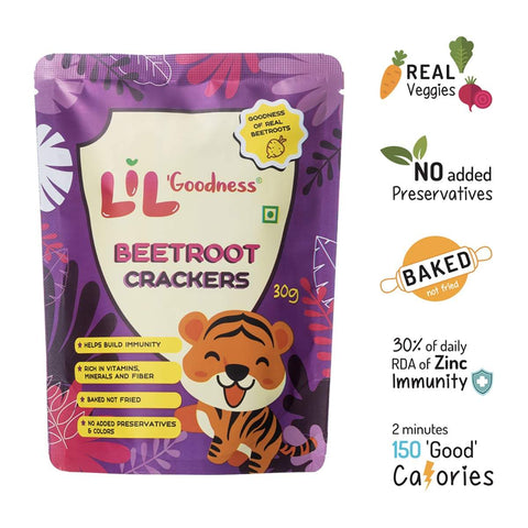 Assorted Crackers (Beetroot, Carrots, Spinach) 9 x 30 g, 3 Packets Each