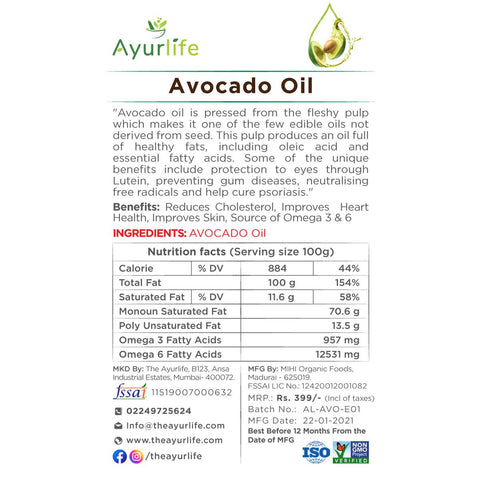 Avocado Oil (Cold Pressed)