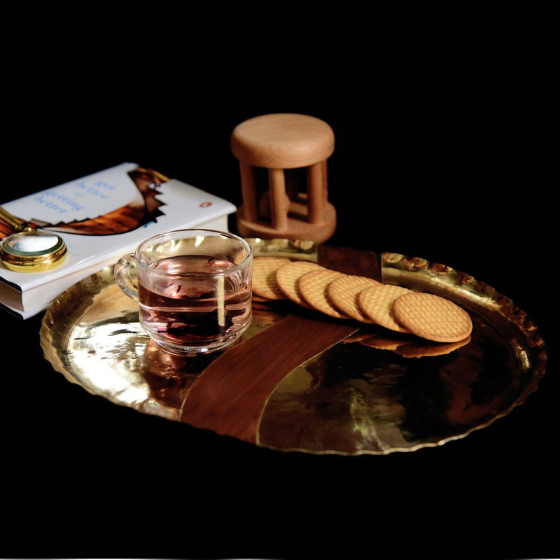 Brass Wood Fusion Thali (Set Of 2)