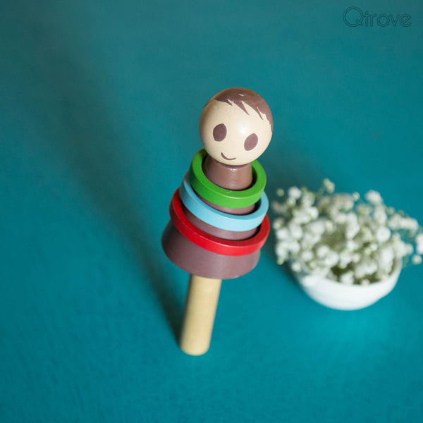 Eco-Friendly Wooden Baby Boy Rattle at Qtrove