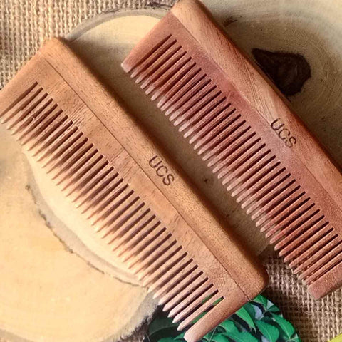 Baby Neem Wood Comb  (Set of 2 Hair Combs)