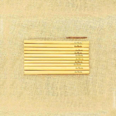 Bamboo Straws(Set of 10) with 1 Bamboo Cleaner