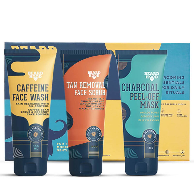 Complete Face Care Kit (Tan Scrub, Peel Off Mask And Caffeine Face Wash)(Pack Of 3)