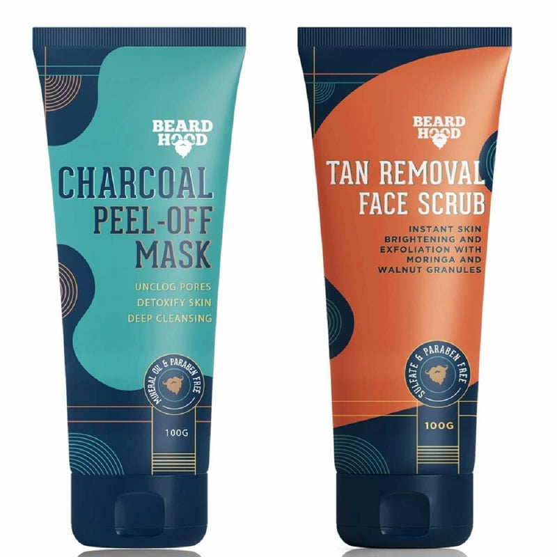 Tan Removal Scrub And Charcoal Peel Off Mask Combo