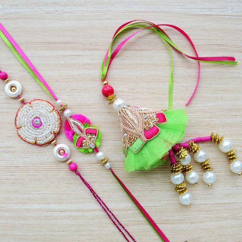 Pink Green Rakhi With Large Zardozi Gold Embroidery (Lumba Rakhi)(Set of 3)