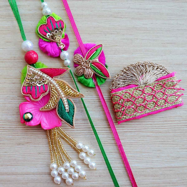 Pink Green Gold Zardozi Bead Pearls Rakhi Set (Lumba Rakhi Set With Tikka) (Set of 4) at Qtrove