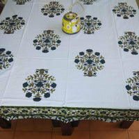 Big Flower Design Green Colour Hand Block Printed Cotton 6 Seater Table Cover