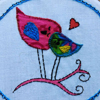 Hand Embroidery Pink & Blue Birds Of Togetherness