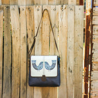 Bird Print Medium Large Sling Bag (Blue Brown)