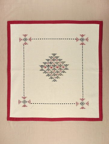 Toda Hand Embroidered Square Table Cloth(Black, White & Red) (Cotton) (22 Inch)