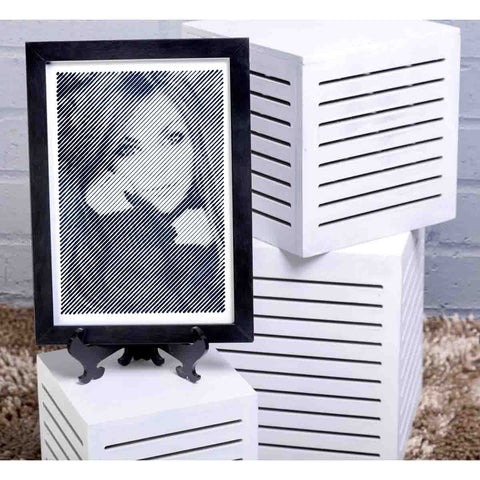 Black And White Portrait With Diagonal Line Engraving - Medium