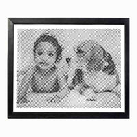 Black &  White Portrait With Diagonal Lines Engraving (Large)