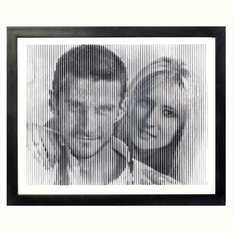 Black And White Portrait With Vertical Line Engraving-Large