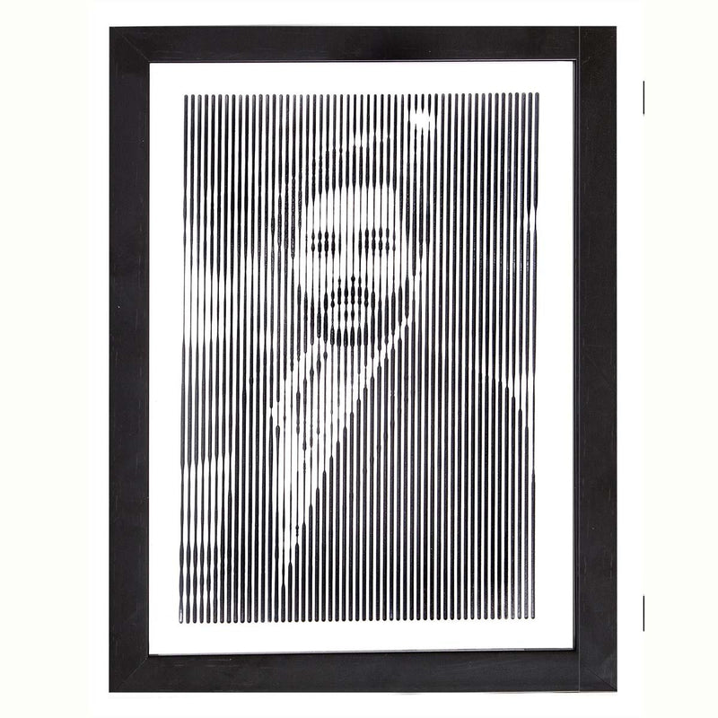 Black And White Portrait With Vertical Line Engraving-Medium