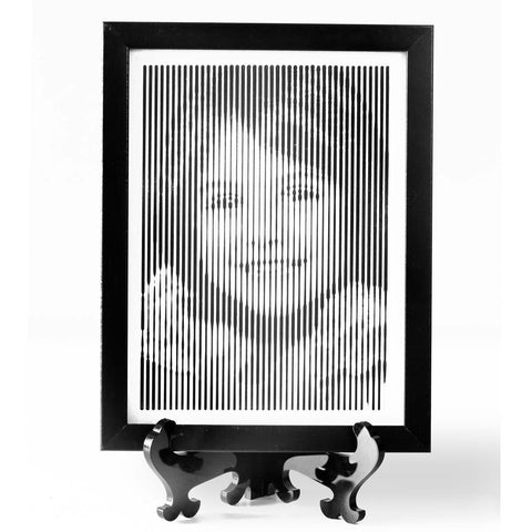 Black And White Portrait With Vertical Line Engraving (Small)