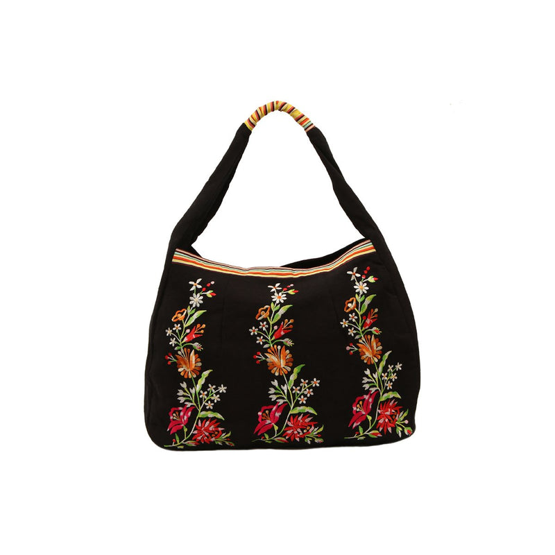 Black Cotton Canvas Floral Machine Embroidered Tote Bag