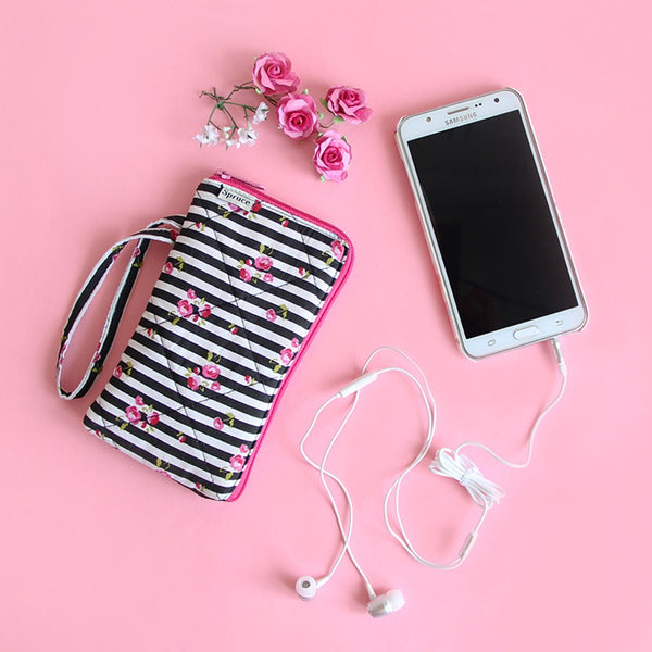 Cell Phone Pouch (Pink Floral With Black Stripes) at Qtrove