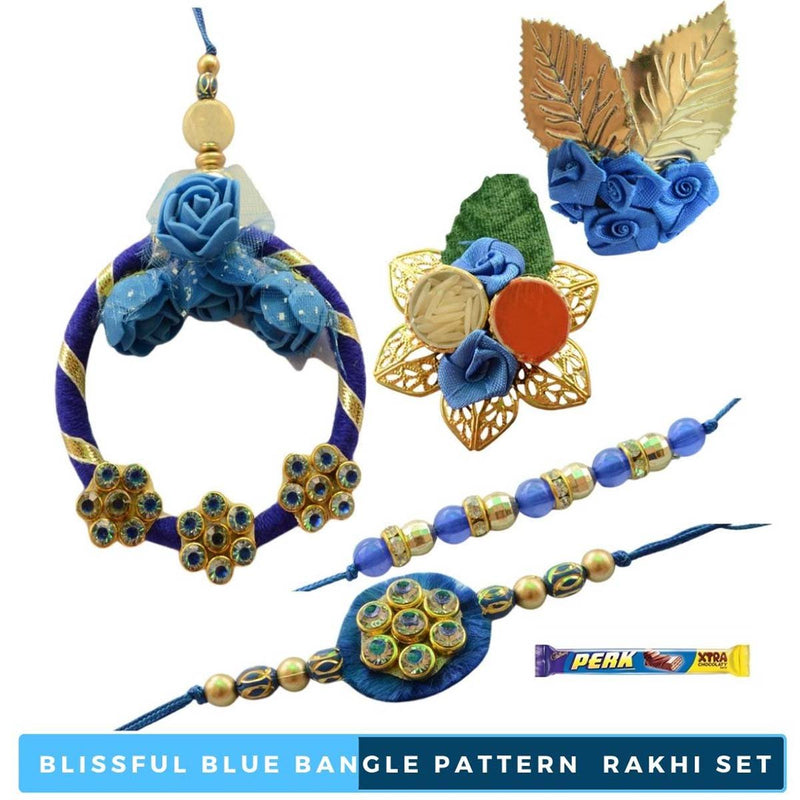 Blissful Blue Bangle Pattern  Bhaiya Bhabhi Rakhi Set - 7 items