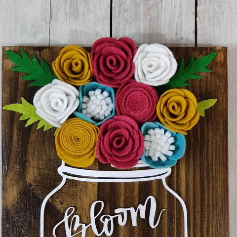 Bloom Where you are planted Mason Jar With Summer Shades Flowers Rustic Wood Sign