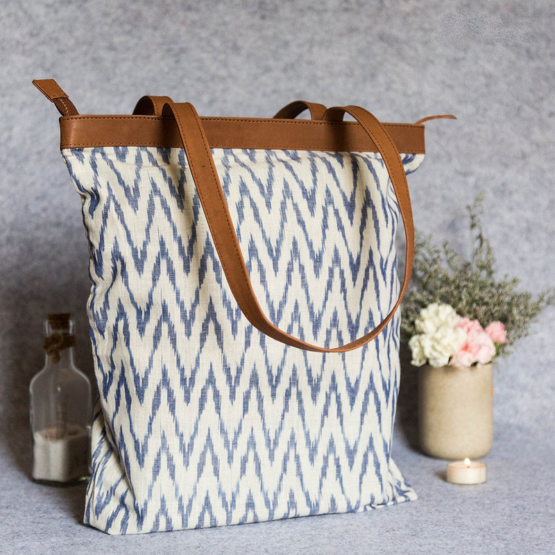 Handwoven Ikat Fabric White and Light Blue Tote