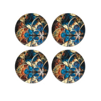 Blue Color Peacock Printed MDF Coasters (Set of 4 )