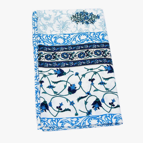Blue Colour Jaal Print 100 % Cotton King Size Bedsheet With 2 Pillow Cover