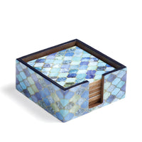 Blue Drops Design Enamel MDF Coasters with Case (Set of 6)