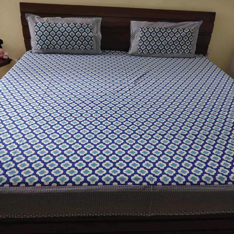 Blue Jaal Geometric Print King Size Bedsheet (2 Pillow Cover)
