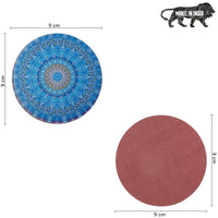 Blue Mandala Printed MDF Coasters (Set of 4 )