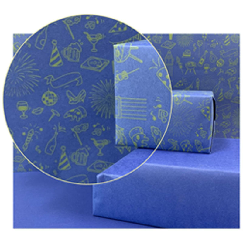 Rich Blue Party Gift Wrapping Paper (Set of 20)