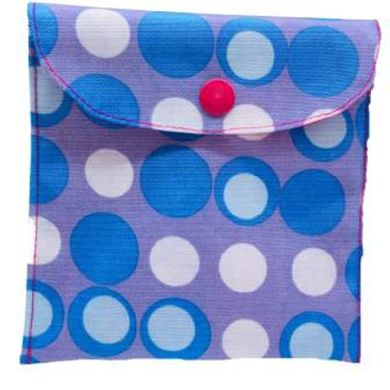 Blue Polka SanitaryPad Pouch 2 Pockets Pink Lining & Button