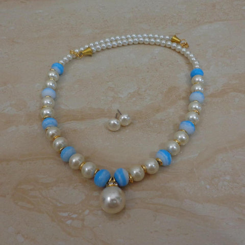Blue Stone  - Handcrafted Pearl Necklace set with matching earrings