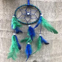 Blue & Green Color Dream Catcher Wall Hanging (Small)