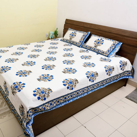 Blue Colour Big flower 100% Cotton King Size Bedsheet With 2 Pillow Cover