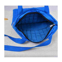 Blue Silk Quilted Tote Cum Laptop Bag