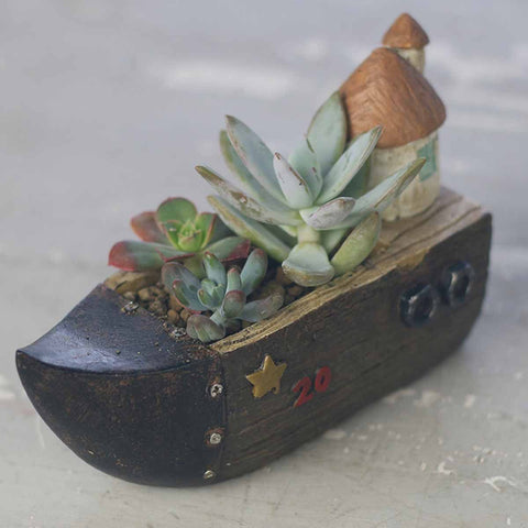 Boat with Hut Resin Succulent Pot