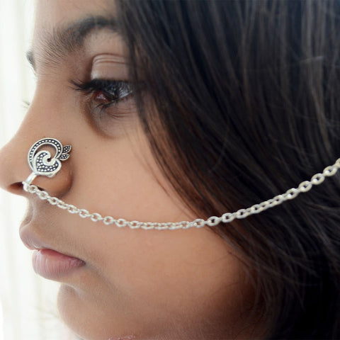 Boho style Nose Clip with Chain Silver Jewelry