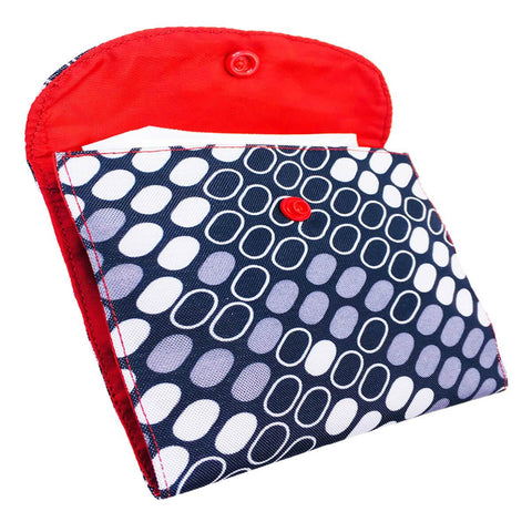 Box Print SanitaryPad Pouch 2 Pockets Red Lining & Button