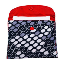 Box Print SanitaryPad Pouch One Pocket Red Lining & Button