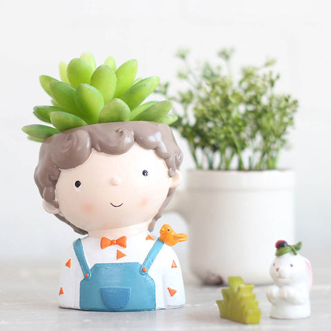 Boy With Bird Resin Succulent Pot