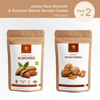 Brain Power Jumbo California Almonds and Walnuts Combo (150gm Each)