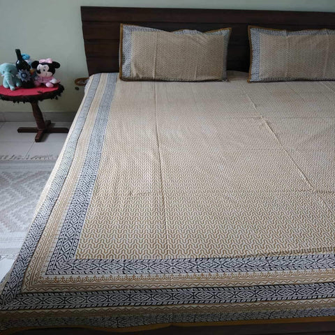 Hand Block Print Brown Colour King Size Bedsheet (2 Pillow Cover)