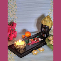 Buddha Face Statue On Tray With Deepa